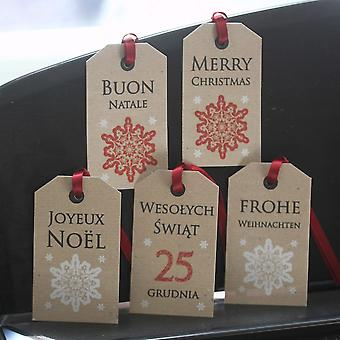 Merry Christmas Tags Multi Lingual Polish French German Italian x 5