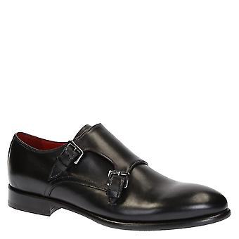 La main moine double sangle mens chaussures en cuir noir