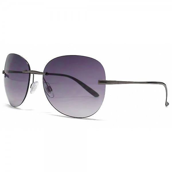 Karen Millen Large Rimless Sunglasses In Gunmetal
