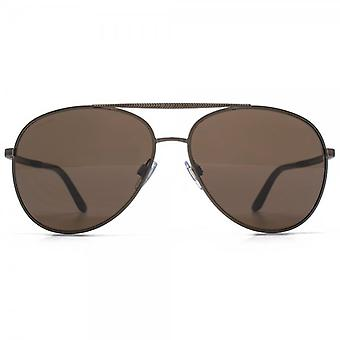 Giorgio Armani Aviator Sunglasses In Matte Brown