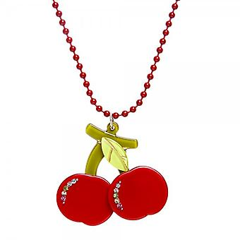Camille Womens Ladies Red Beaded Chain Necklace With A Red Cherry Charm And Diamantes