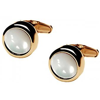 denisonboston Polo Mother of Pearl Centre Cufflinks - Gold/White