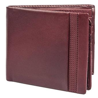 Dents Smooth Punched Leather Bifold Wallet - Claret Red