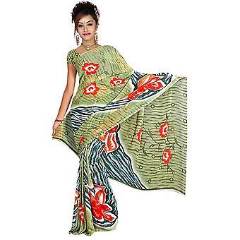 Tela Bijli Georgette impresos Casual sari Sari Bellydance