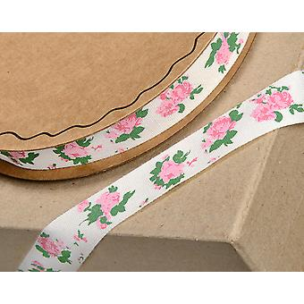 SALE - 16mm Pink Roses Printed Cotton Ribbon for Crafts - 10m