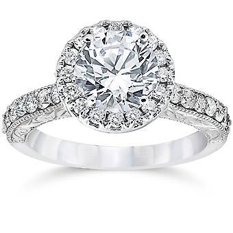 2ct Vintage forbedret Diamond Halo forlovelsesring 14K hvitt gull gravert detaljer