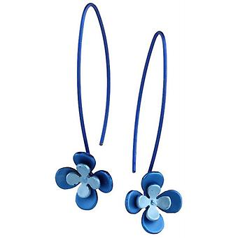 Ti2 Titanium Double Four Petal Flower Drop Earrings - Blue