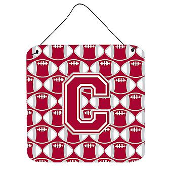 Letter C Football Crimson, grey and white Wall or Door Hanging Prints