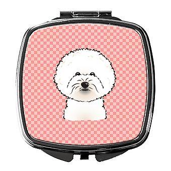 Carolineøerne skatte BB1217SCM skakternet Pink Bichon Frise kompakt spejl