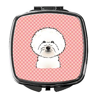 Carolines Treasures  BB1217SCM Checkerboard Pink Bichon Frise Compact Mirror