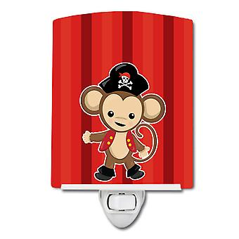 Carolines Treasures  BB8976CNL Pirate Monkey Red #2 Ceramic Night Light