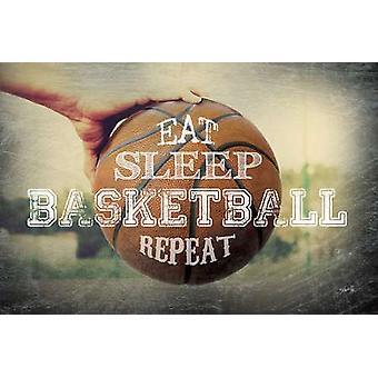 Eten slaap basketbal herhalen Poster Print by Marla Rae (18 x 12)