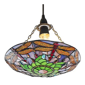 Traditional Multi-Coloured Dragonfly Tiffany Glass Pendant Shade