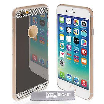 Yousave tillbehör Iphone 6 och 6s spegel Diamond Case - grå