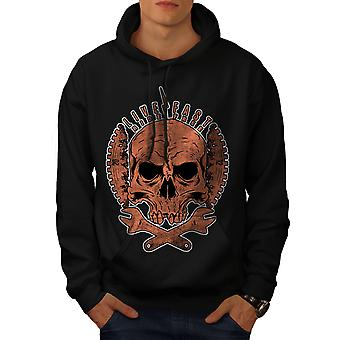 Living Life Biker Skull Men BlackHoodie | Wellcoda