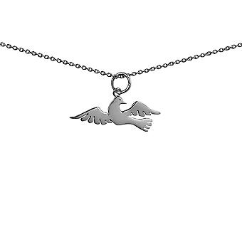 Silver 27x10mm Bird Pendant with rolo Chain 14 inches Only Suitable for Children