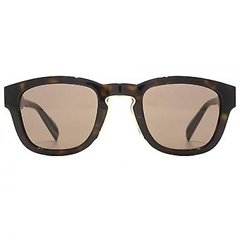 Alexander McQueen Edge Keyhole Square Sunglasses In Dark Havana