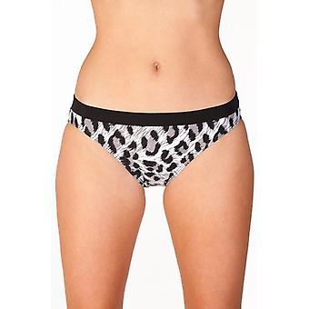 Camille Black Animal Print Damen Sexy Bikini Bottoms Slips