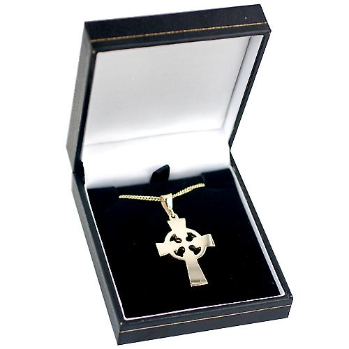 9ct Gold 35x24mm hand engraved knot pattern Celtic Cross with bail on a curb Chain 16 inches Only Suitable for Children