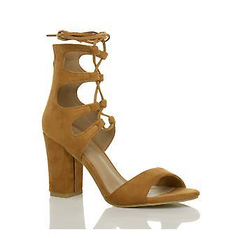 Ajvani женские высокие блок каблук ghillie клетке галстук кружева вырезать обувь сандалии