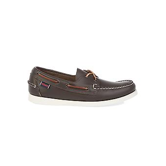 Sebago men's B72753WINE brown leather moccasins