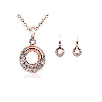 Womens Rose Gold Necklace And Earings Matching Jewellery Set With Crystal Stones