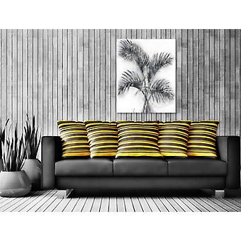Palm image oil painting on canvas design floral mural modern silver 80cmx100cm