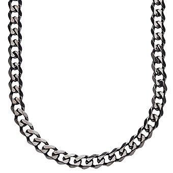 Iced out stainless steel curb chain - 6 mm black