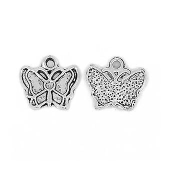 Packet 15 x Antique Silver Tibetan 17mm Butterfly Charm/Pendant ZX15695