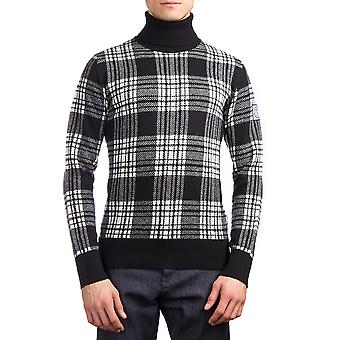 Moncler mænds jomfru uld Plaid rullekrave trøje sort