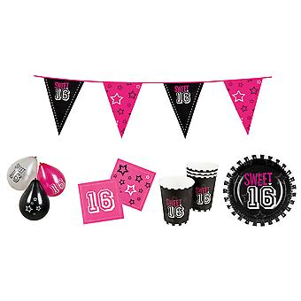 Sweet 16 Birthday Party Pack Plates, Cups, Napkins, Bunting & Balloons Set