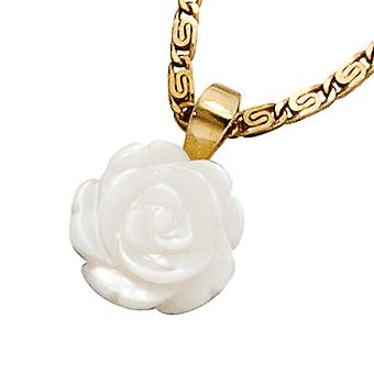 Pendant rose 333 gold yellow gold mother of Pearl