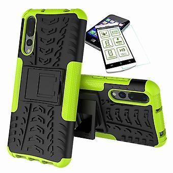 Für Huawei P20 Pro Hybrid Case 2teilig Grün + Hartglas Tasche Hülle Cover Hülle