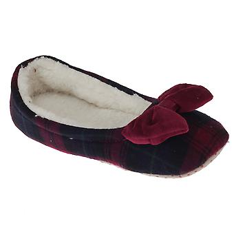 SlumberzzZ Womens/Ladies Tartan Slippers With Fleece Interior And Bow Tie