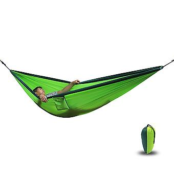 Camping Hammock | 270x 140 Cm  | Made of Parachute Nylon Ultralight 180 Kg Load | Ropes Included | Outdoor Trekking & Camping | Green / Khaki