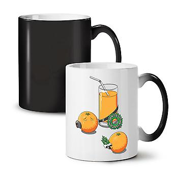Orange Juice NEW Black Colour Changing Tea Coffee Ceramic Mug 11 oz | Wellcoda