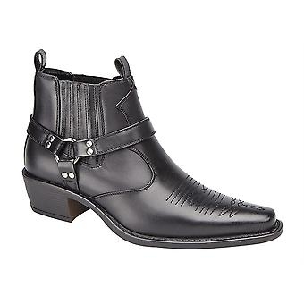 Mens Slip On Western Cowboy Concealed Gusset Ankle Boots Shoes