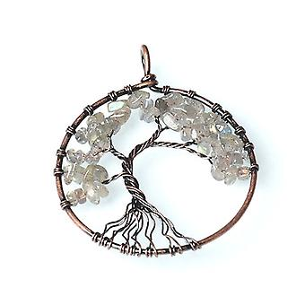 1 x Grey Labradorite 50mm Tree Of Life Charm/Pendant CB52218