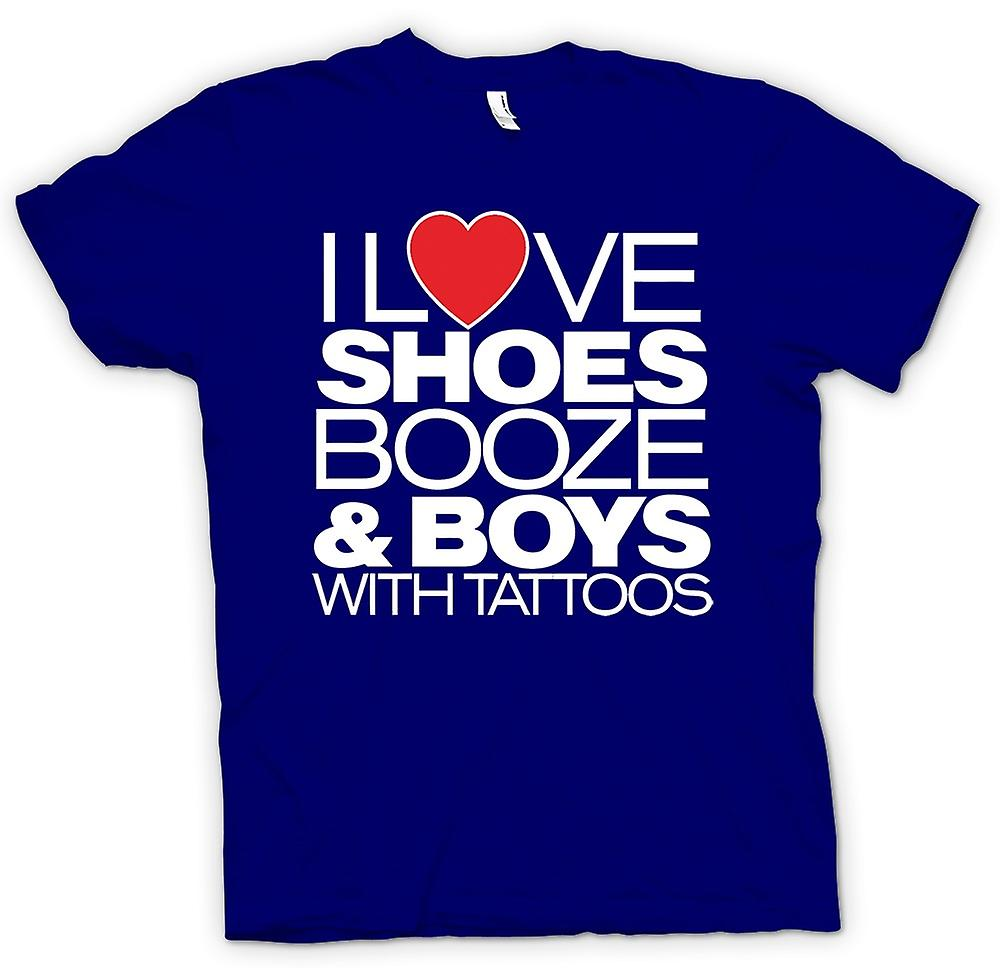 Mens T-shirt - I Love Shoes Booze And Boys With Tattoos - Quote