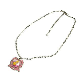 Disney Princess Silvertone Necklace With Crown Pendant
