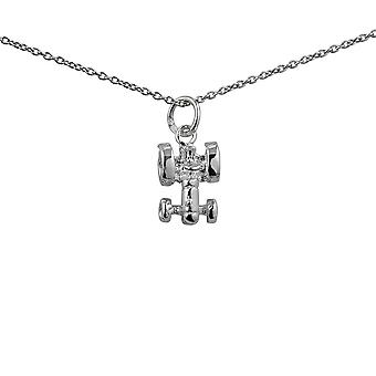 Silver 12x9mm Tractor Pendant with a 1mm wide rolo Chain 24 inches
