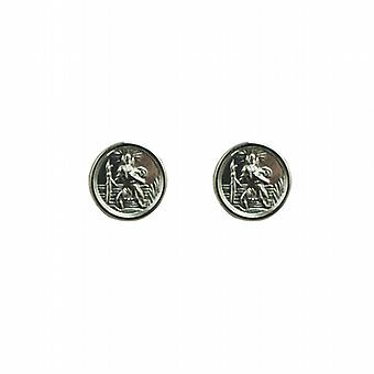 Zilver 8mm ronde St Christopher Stud Earrings