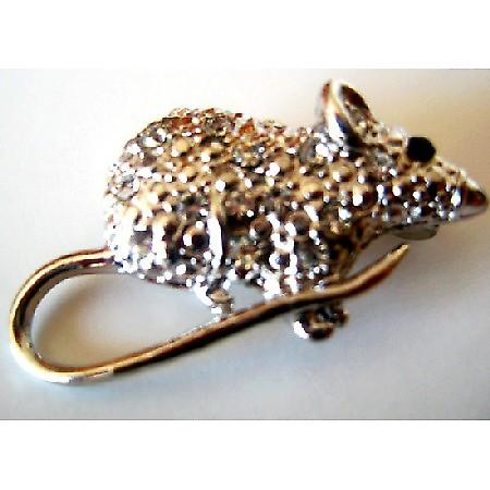 Rat Brooch Embedded W/ Rhinestones Encrusted Artistically w/ Cubic Zircon