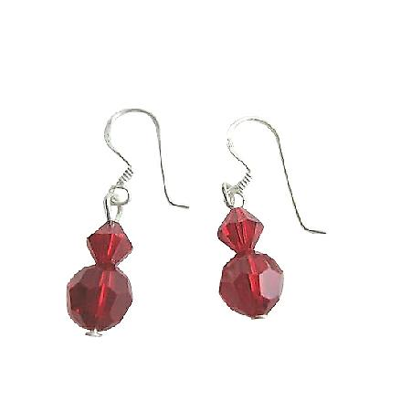 Swarovski Siam Red Crystal Sterling Silver Earrings