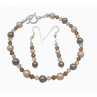 Bridal Bridemaides Bracelet Earrings Alll Genuine Swarovski Pearl Crystal Handcrafted Custom Jewelry