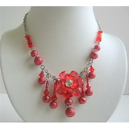 Red Beaded Flower Choker w/ Acrylic Bead & Dangling Beads Necklace