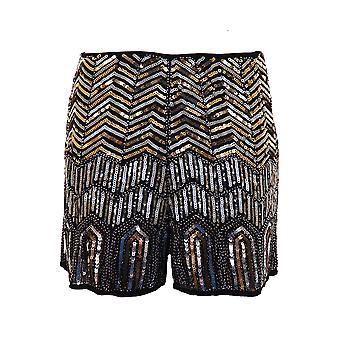 Damen High Waist Perlen Nähmaschinen aztekische Zig Zag Stammes-Frauen Hot Pants Shorts
