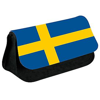 Sweden Flag Printed Design Pencil Case for Stationary/Cosmetic - 0169 (Black) by i-Tronixs