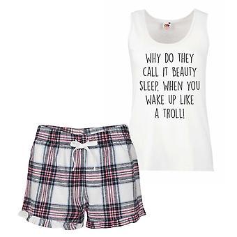 Why Do They Call It Beauty Sleep When you Wake Up Like A Troll Pink Tartan Pyjamas