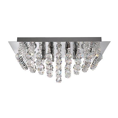 Searchlight 6404-4CC Hanna 4 Light Chrome Square Flush Fitting With Crystal Balls